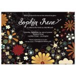 Retro Inspired Floral Bat Mitzvah Ceremony and Party Invitation