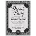 Black and White Dinner Party Invitation