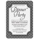 Simply Stylish 2 Black White Dinner Party Invite