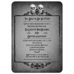 Bridal Wedding Shower Invitation - Two Skulls Eerie Grey Frame Halloween