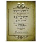 Bridal Wedding Shower Invitation - Two Skulls Eerie Green Frame Halloween