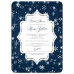 Great midnight blue, white, silver glitter and snowflakes wedding shower, bridal shower, or couples shower invitation with navy blue scroll.