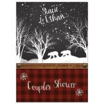Best rustic winter woodland couples shower, bridal shower, or wedding shower invitation with red and black plaid, chalkboard, snowflakes, trees, leather, and two bears.