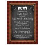 Great rustic winter woodland couples shower, bridal shower, or wedding shower invite with red and black plaid, chalkboard, snowflakes, trees, leather, and two bears.