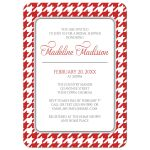 Bridal Shower Invitations - Red and White Houndstooth