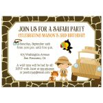 Safari boy's birthday party invitation