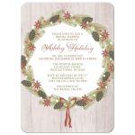 Bridal Shower Invitations - Rustic Pine Cone Wreath Wood