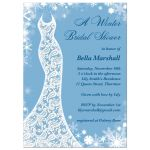 This winter bridal shower invitation is decorated with delicate snowflakes and a lacy wedding dress on a light blue background.