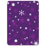 This winter bridal shower invitation is decorated with delicate snowflakes and a lacy wedding dress on a purple background.
