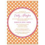Bridal Shower Invitations - Orange Polka Dot Pink