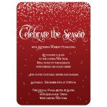 Best red and white falling snow holiday or Christmas party invitation with vintage typography.