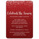 ​Best red and white falling snow corporate or company holiday or Christmas party invitation with vintage typography.