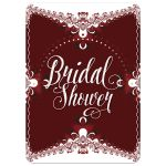 Red+White Lace Frills Bridal Shower Invitation