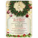Bridal Wedding Shower Invitation - Christmas Wreath Engagement Ring