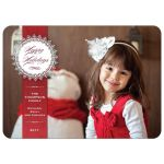 Christmas Holiday Photo Card - Red Pinstripe Doily