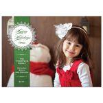Christmas Holiday Photo Card - Green Pinstripe Doily
