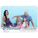Christmas Holiday Photo Greeting Card - Blue Faux Glitter Snowy Celebrate
