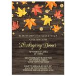 Thanksgiving Invitations - Falling Leaves with Gold Autumn