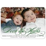 Christmas Holiday Photo Greeting Card - Green Faux Glitter Snowy Deck the Halls