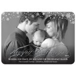 Happy Holidays Photo Greeting Card - Silver Faux Glitter Snowflakes
