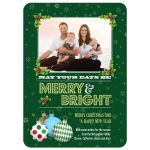 Christmas Photo Card - Green Holiday Ornaments and Holly Merry and Bright