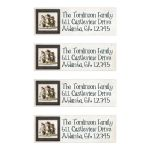 Great personalized return address mailing labels with folk art snowmen on them.