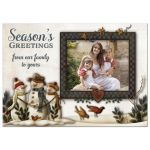 Best personalized Christmas or Holiday card with whimsical folk art snowmen and photo template.