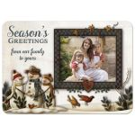 ​Best personalized Christmas or Holiday card with whimsical folk art snowmen and photo template.