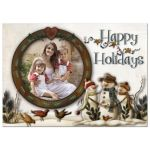 Best personalized Christmas or Holiday card with whimsical folk art snowmen and photo template with holly leaves and berries.