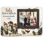 Great personalized Spanish Feliz Navidad Christmas or Holiday card with folk art snowmen and photo template.
