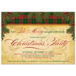 Pine boughs and berries traditional Christmas party invitation front