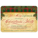 Pine boughs and berries traditional Christmas party invitation​ front