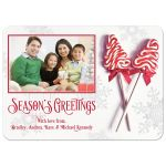 Red and white candy cane lollipop personalized Christmas photo card