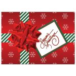 Best custom red, green, white striped Christmas or holiday gift box photo card with snowflakes, ribbon, bow and tag with Season's Greetings on it.
