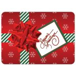 ​Best custom red, green, white striped Christmas or holiday gift box photo card with snowflakes, ribbon, bow and tag with Season's Greetings on it.