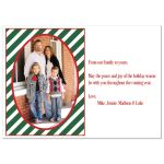 Great custom red, green, white striped Christmas or holiday gift box photo card with snowflakes, ribbon, bow and tag with Season's Greetings on it.