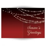 Twinkle Lights Holiday Card on red background.