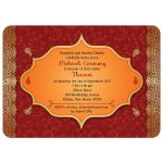 Party Invitation - Red Paisley Mehndi Ceremony Bridal Wedding  Shower