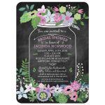 Chalkboard Mason Jar Purple and Pink Flowers Bridal Wedding Shower Invitation