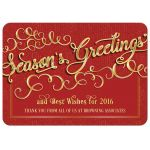 Elegant red and gold season's greetings business holiday greeting card
