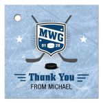 Bar Mitzvah Thank You Favor Tag - Ice Hockey Player Monogram