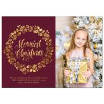 Cranberry & Gold Wreath Christmas Photo Cards