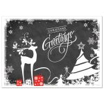 """Great chalkboard """"Christmas Greetings"""" Christmas or Holiday card with white deer, trees, snowflakes, stars and holly leaves and berries."""