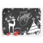 """Best personalized chalkboard """"Christmas Greetings"""" Christmas or Holiday photo card with white deer, trees, snowflakes, stars and holly leaves and berries."""