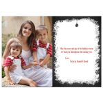 """Great personalized chalkboard """"Christmas Greetings"""" Christmas or Holiday photo card with white deer, trees, snowflakes, stars and holly leaves and berries."""
