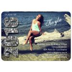 Modern Silver Glittery Typography Photo Graduation Invitation