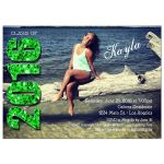 Modern Green Glittery Typography Photo Graduation Invitation
