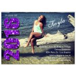 Modern Purple Glittery Typography Photo Graduation Invitation