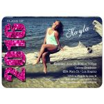 Modern Pink Glittery Typography Photo Graduation Invitation
