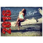 Modern Red Glittery Typography Photo Graduation Invitation